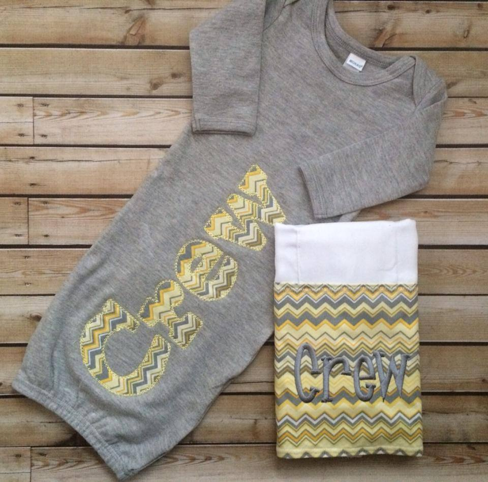 Grey and Yellow Chevron Gown-