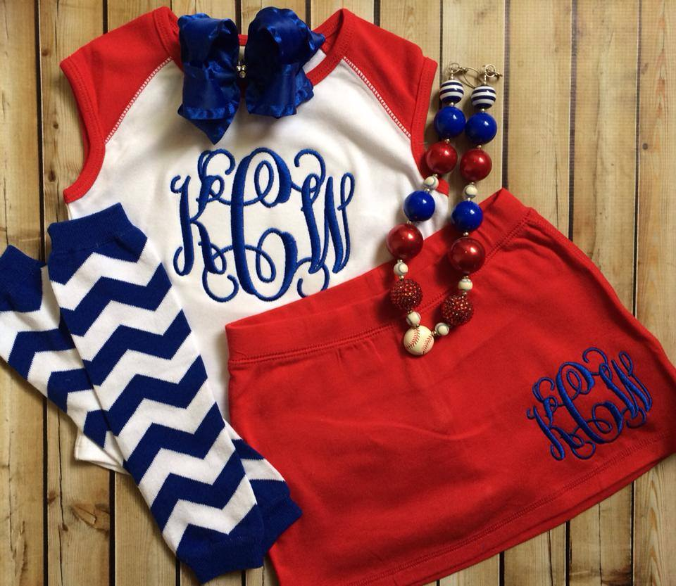 Baseball Monogrammed Skirt Sets-