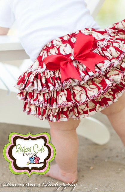 Baseball Print Ruffled Bloomers-ruffled bloomers