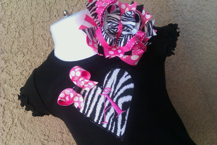 Zebra Heart Personalized Letter Dress with matching OTT Bow-personalized, dress, applique, heart