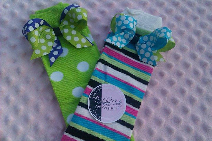 Birthday Stripe Bow Legwarmers-