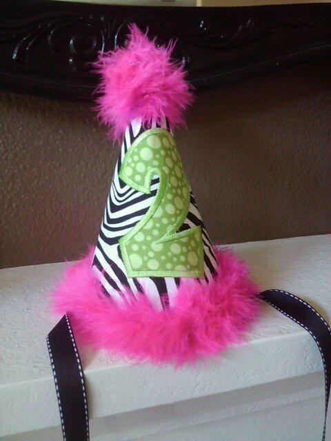 Sassy Zebra Party Hat-