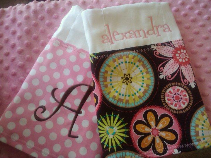 Pink and Brown Burp Cloth Set-burp cloth