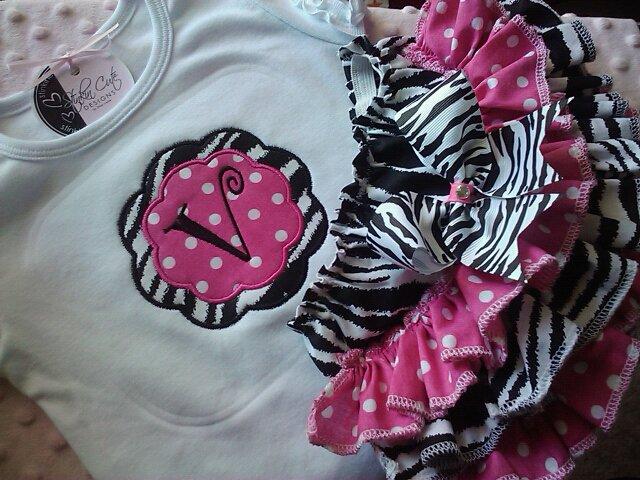 Personalized Zebra Ruffled Set-zebra bloomers, tee