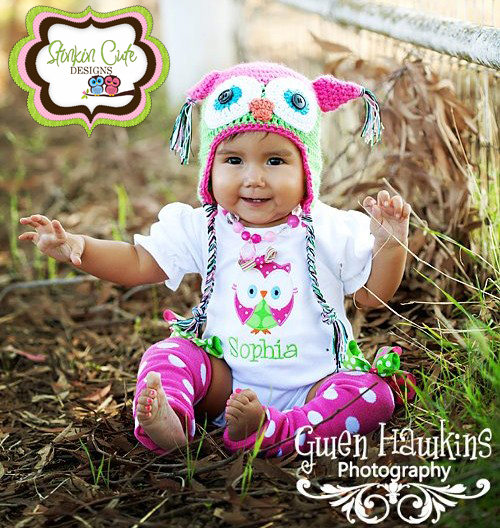 Pink and Lime Owl Romper-