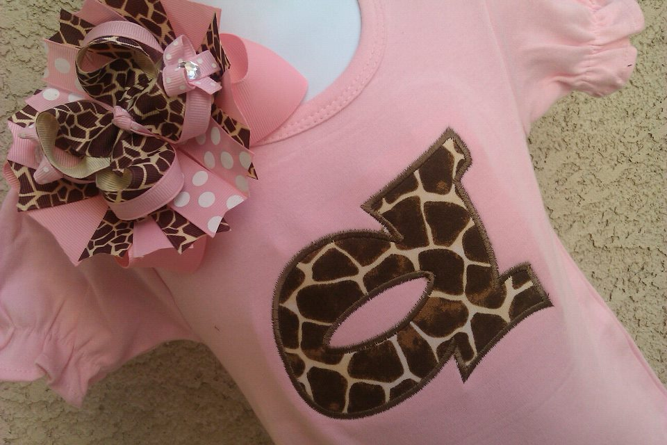 Giraffe Bow Romper and OTT Bow Set-