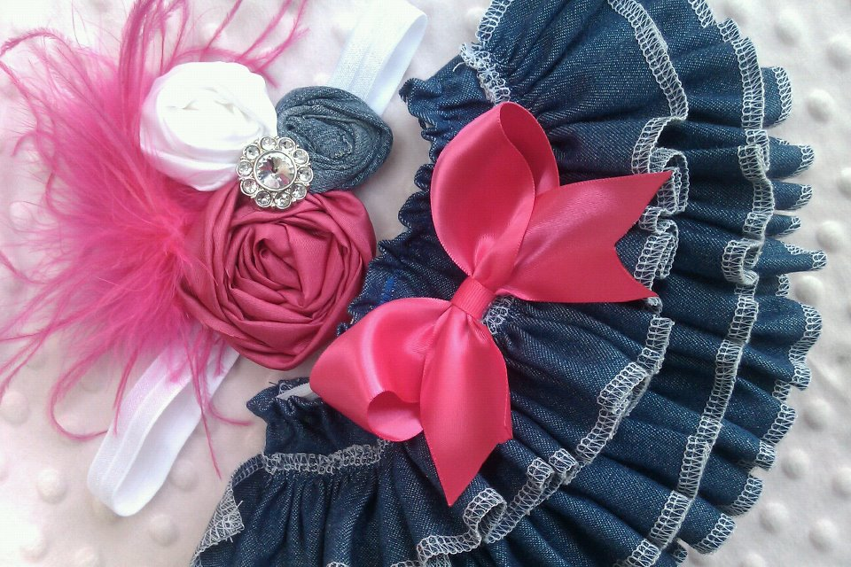Denim Ruffled Bloomers and Headband Set-