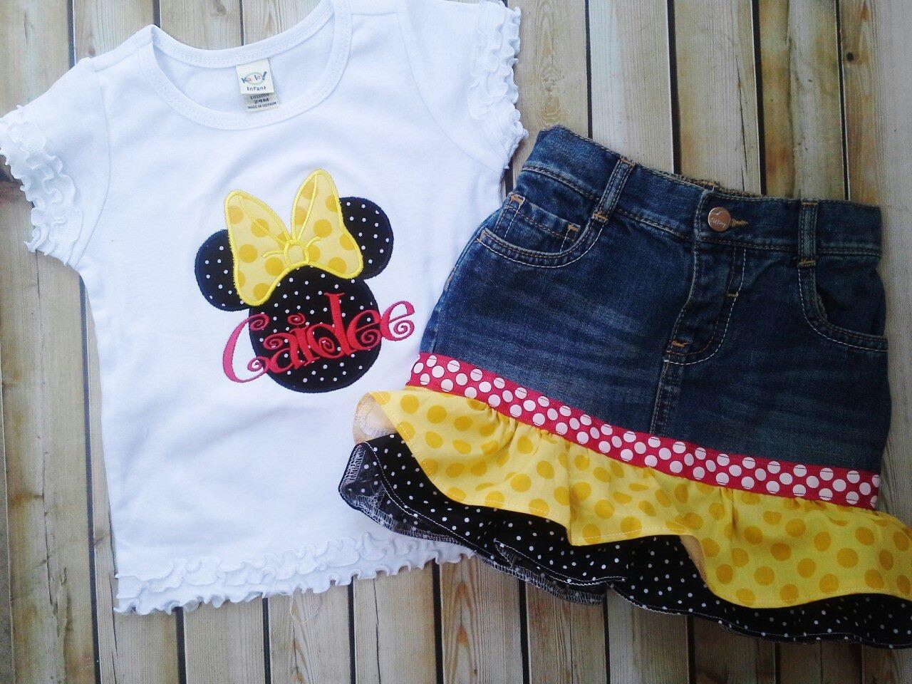 Yellow Bow Minnie Denim Ruffled Skirt Set-