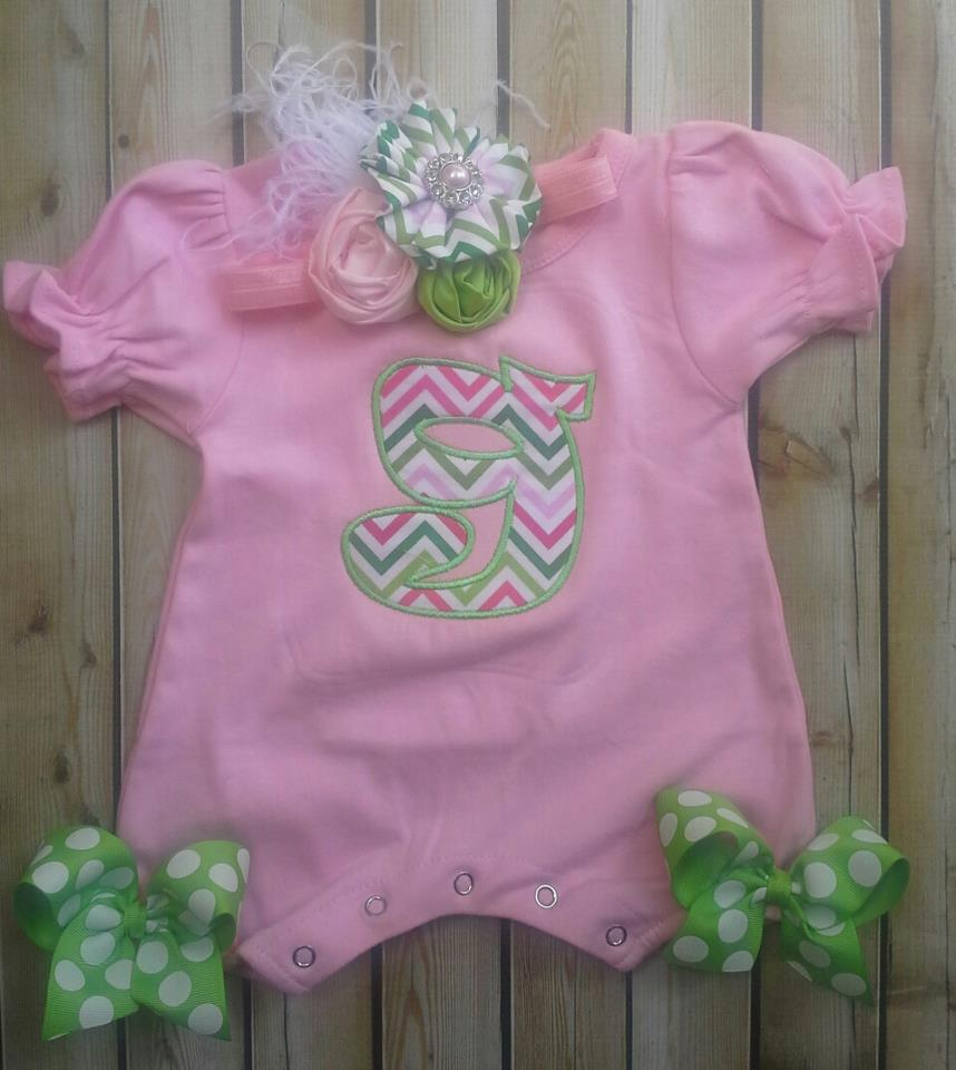 Pink And Lime Chevron Letter Romper-