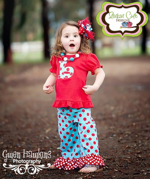 Red and Teal Ruffled Pants Set-