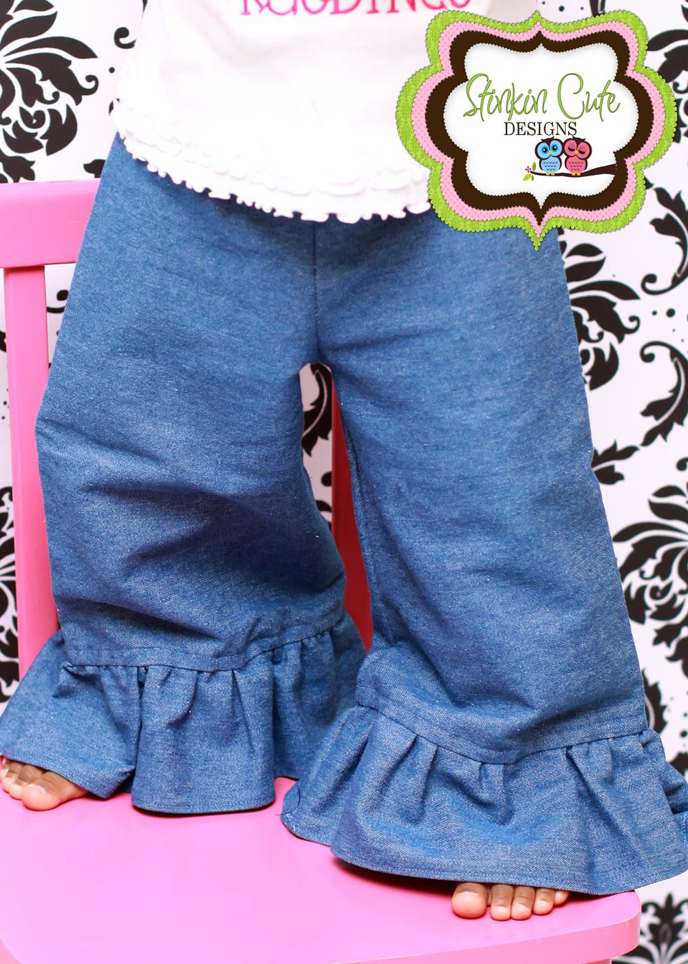 Denim Ruffled Pants-