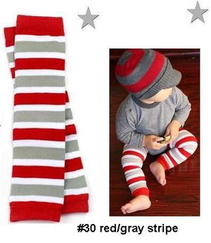 BOYS red and grey legwarmers-