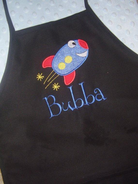 Rocket Ship Applique Toddler Apron-apron, toddler apron, applique, personalized