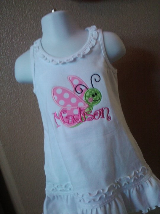 Personalized Butterfly Dress-butterfly, dress, applique, personalized