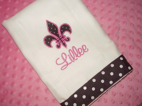 Personalized Fleur De Lis Burp Cloth-burp cloth, personalized
