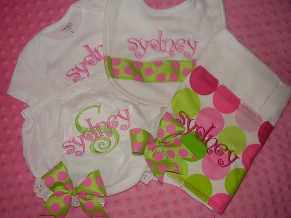 Personalized Baby Gift Set for Girls-personalized set, onesie, bib, burp cloth,