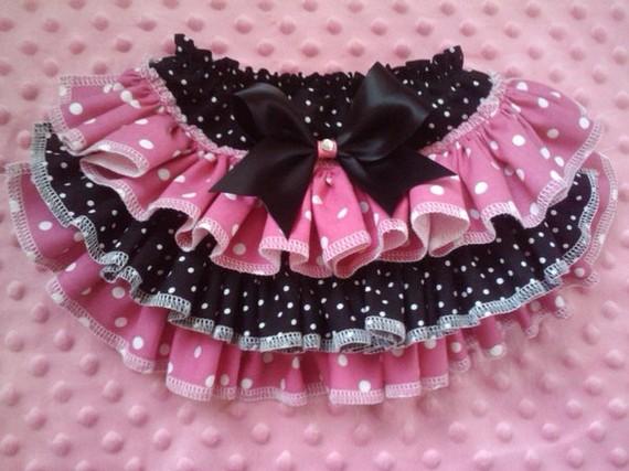 Pink and Black Ruffled Bloomer-ruffled bloomer