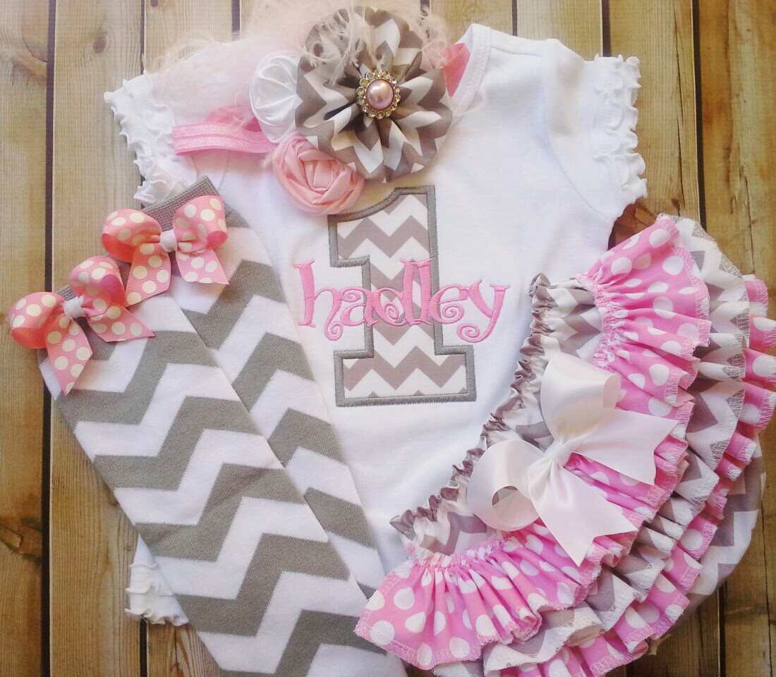 Pink And Grey Birthday Chevron Ruffled Set-