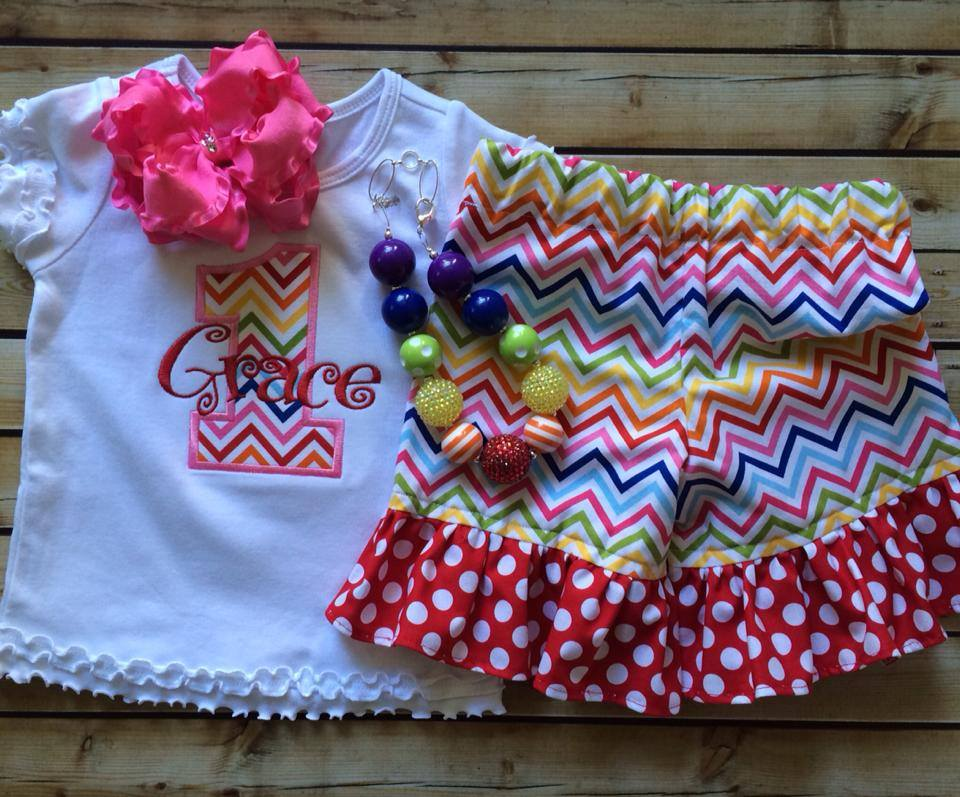 Rainbow Chevron Birthday Shorties Set-