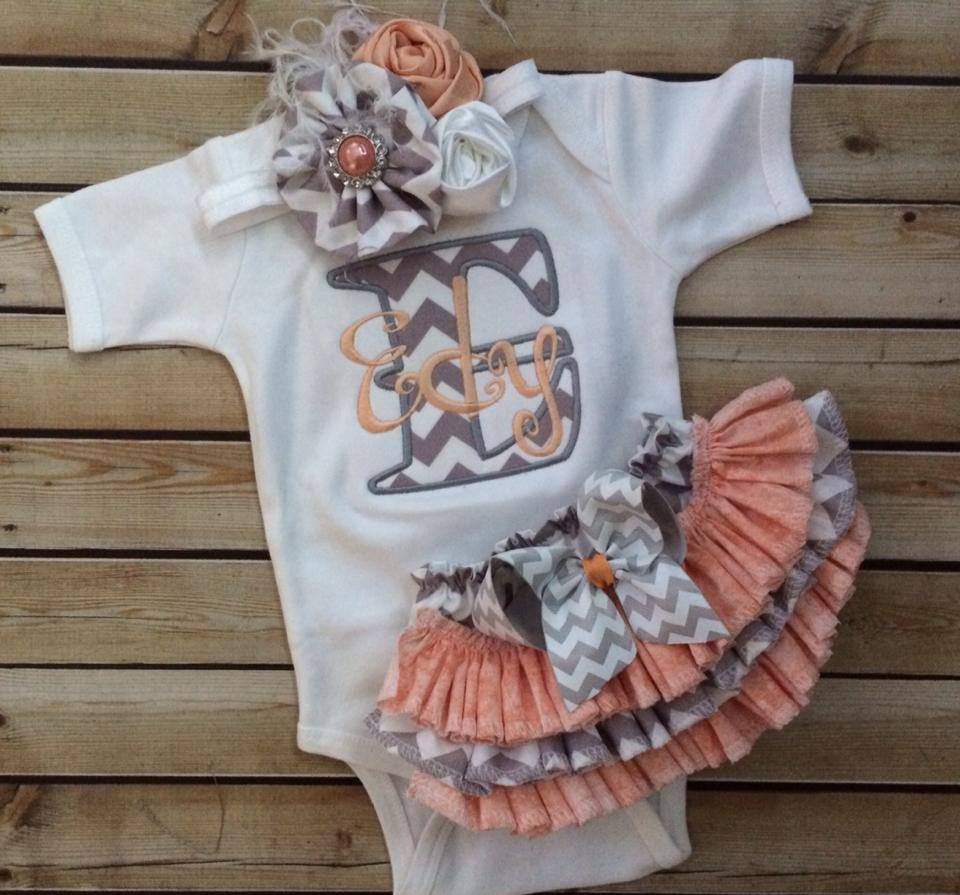 Peach and Grey Chevron Set-