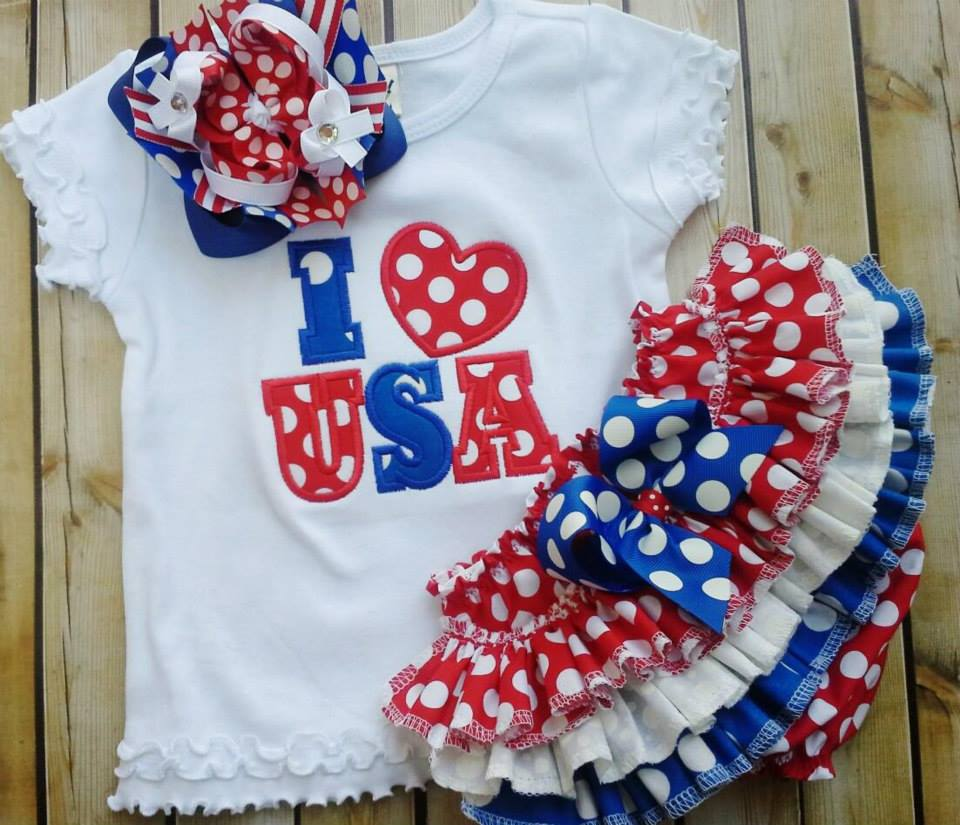 USA Red White and Blue Ruffled Set-