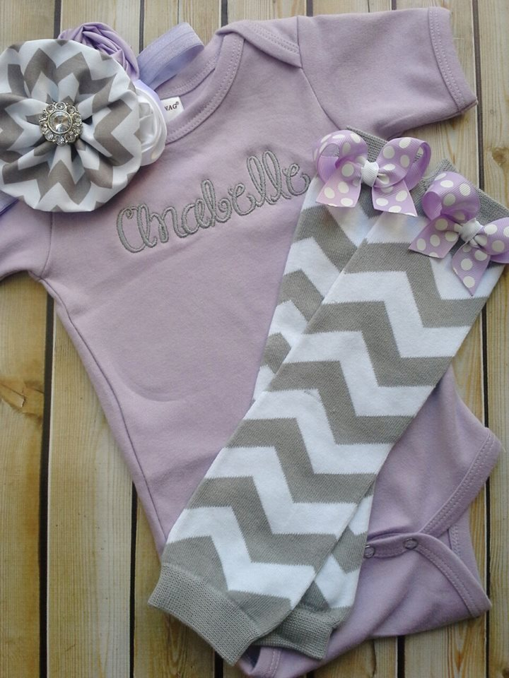 Lavender and Grey Chevron Onesie Set-