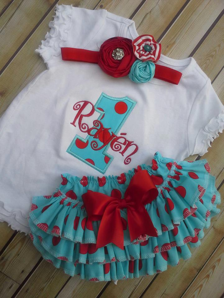 Red and Teal Ruffled Birthday Set-