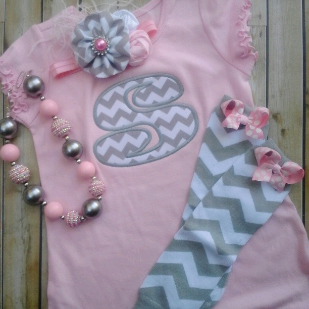 Pink and Grey Chevron Dress-