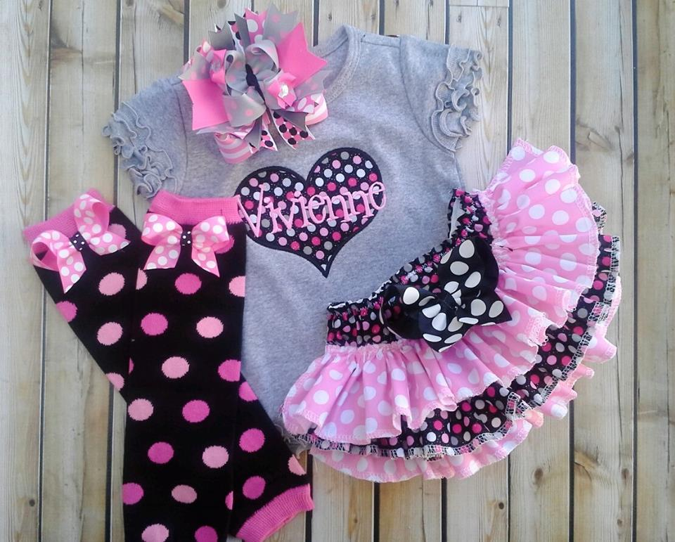 Grey and Pink Heart Ruffled Set-