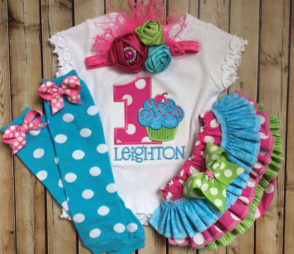 Birthday Cupcake Ruffled Set