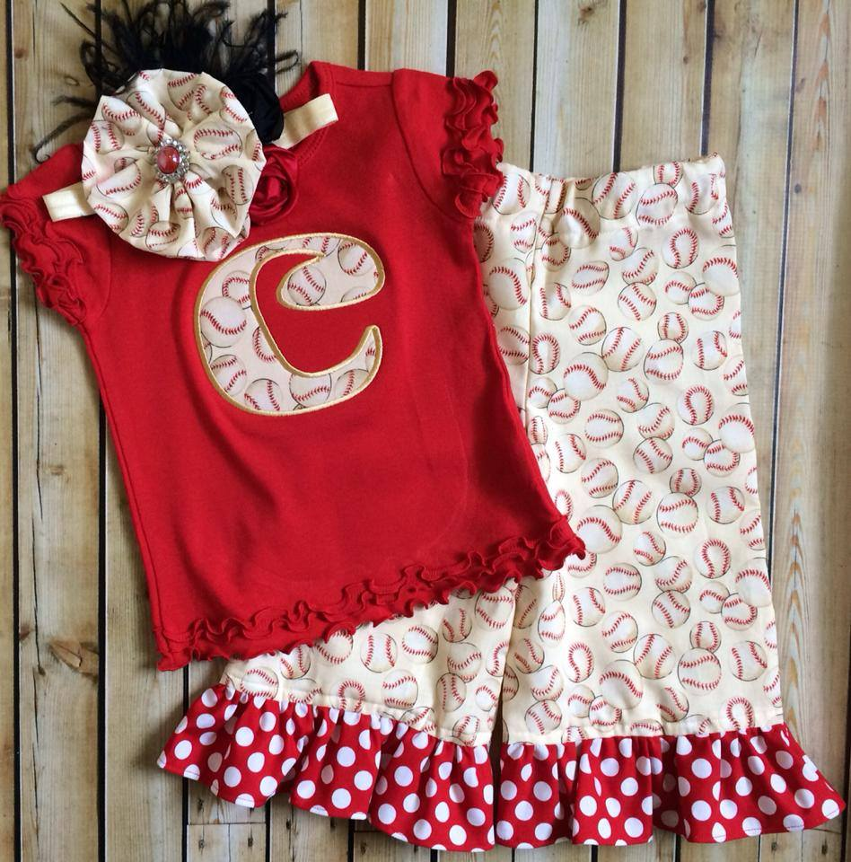 Red and Cream Baseball Capri Pants Set-