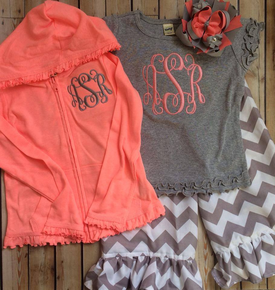 Grey and Salmon Monogrammed Pants Set-