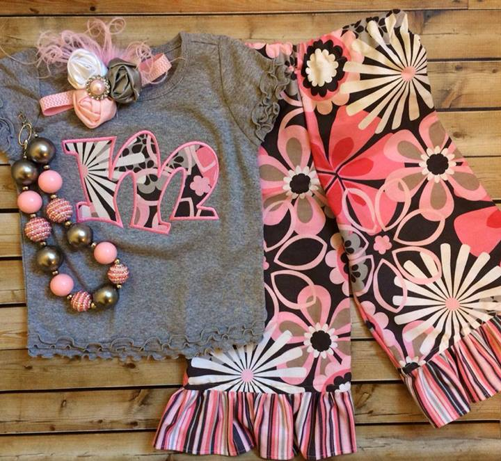 Pink and Grey Floral Pants Set-
