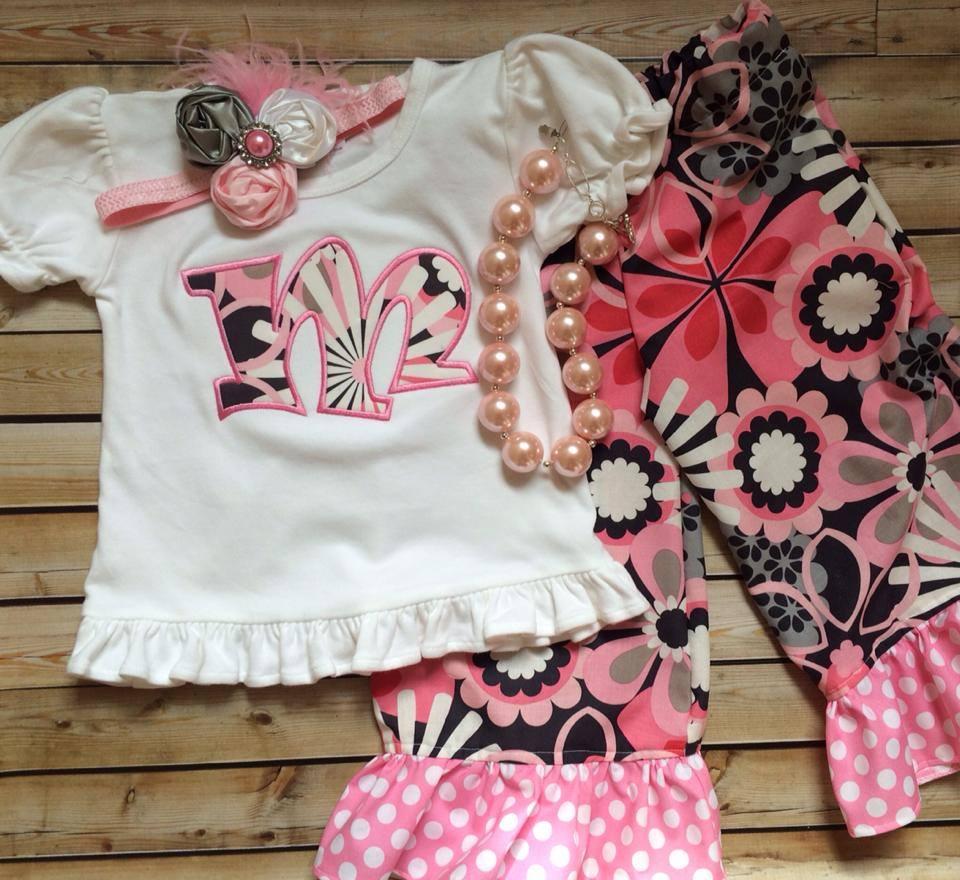 Spring Grey Floral Pants Set-