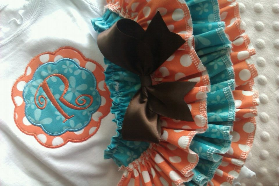 Orange and Teal Ruffled Set-