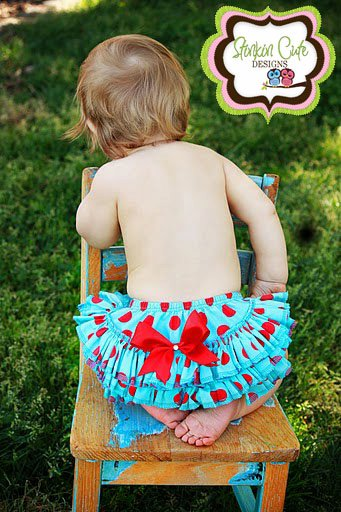 Teal and Red Ruffled Bloomers-Ruffled Bloomers