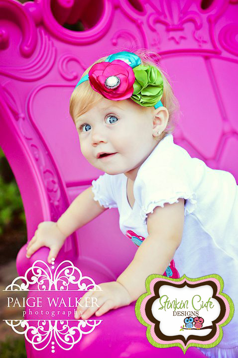 Pink Teal and Lime Vintage Headband-