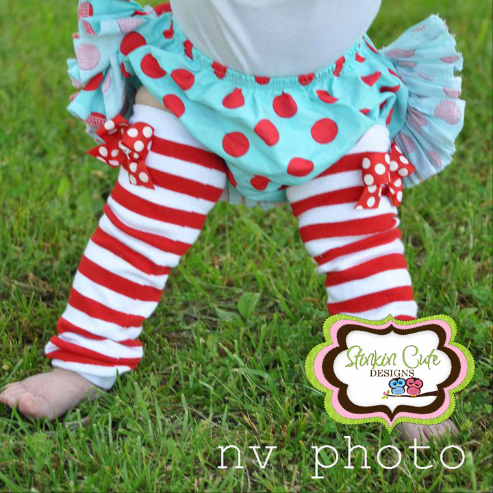 Red and White Striped Legwarmers-legwarmers