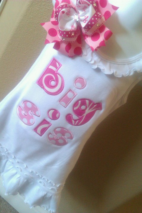 Big Sis Applique Dress-Big Sister
