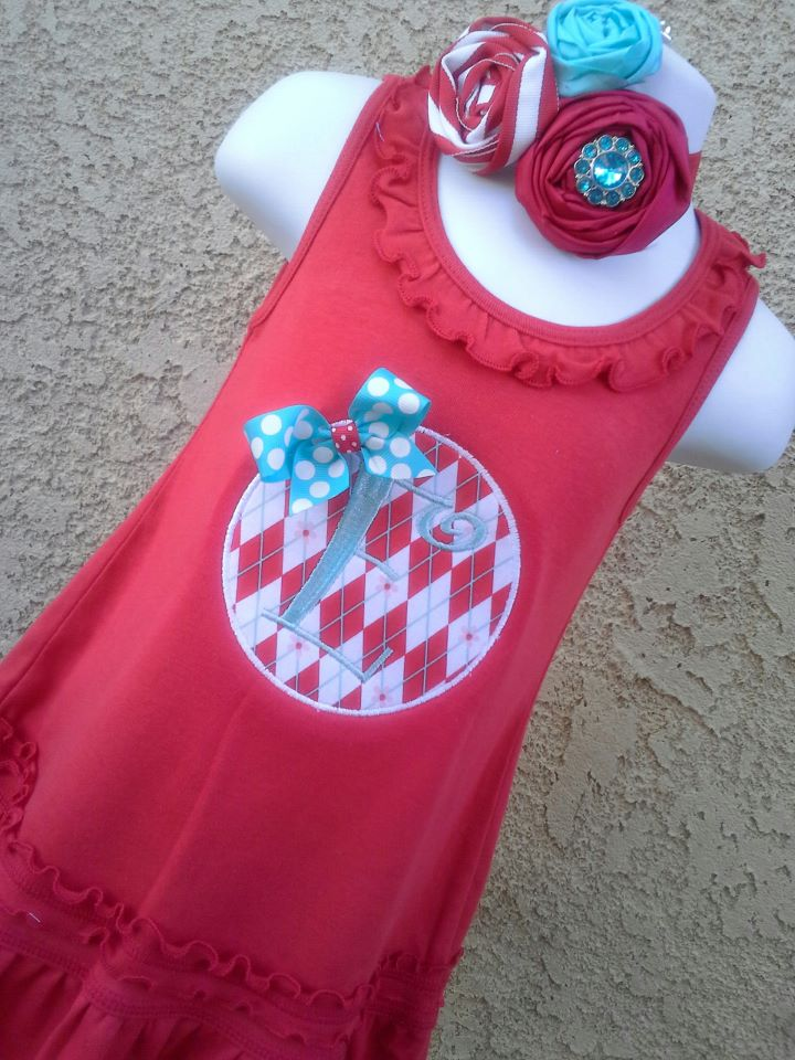 Red and Teal Initial Dress-