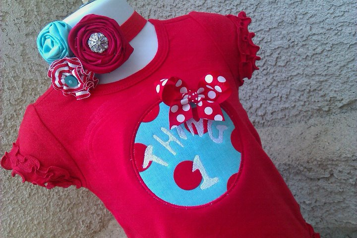 Thing 1 or Thing 2 Red Tee & Vintage Headband Set-