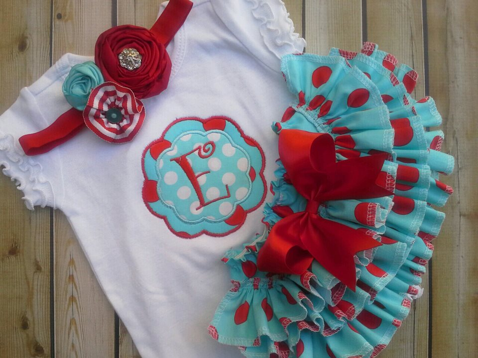 Red & Teal Ruffled Set-Red and Teal Ruffles
