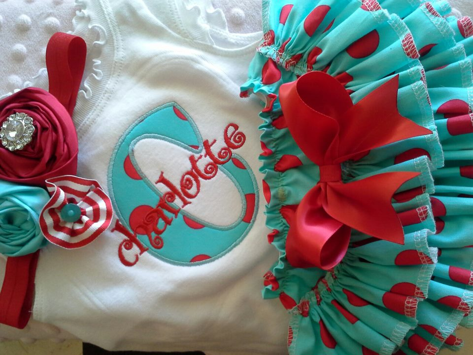 Red and Teal Name Ruffled Set-