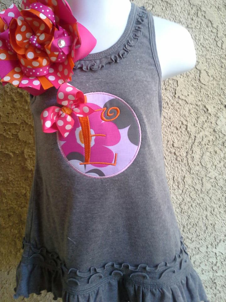 Grey Dress with Pink and Orange Applique Circle-