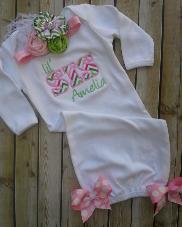 Pink And Lime Chevron Lil Sis Gown-