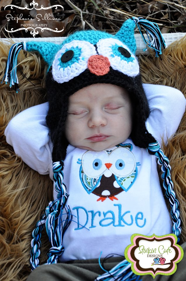 Boy Owl Hat and Onesie Set-