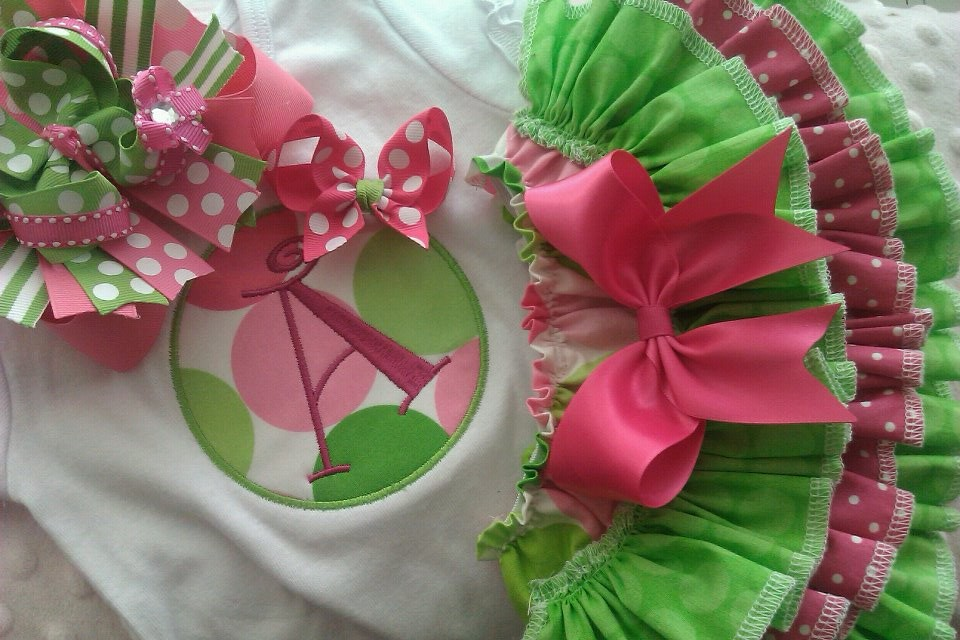 Pink and Lime Ruffled Set-