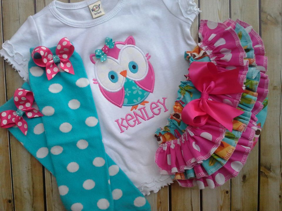 Teal Owl Ruffled Set-