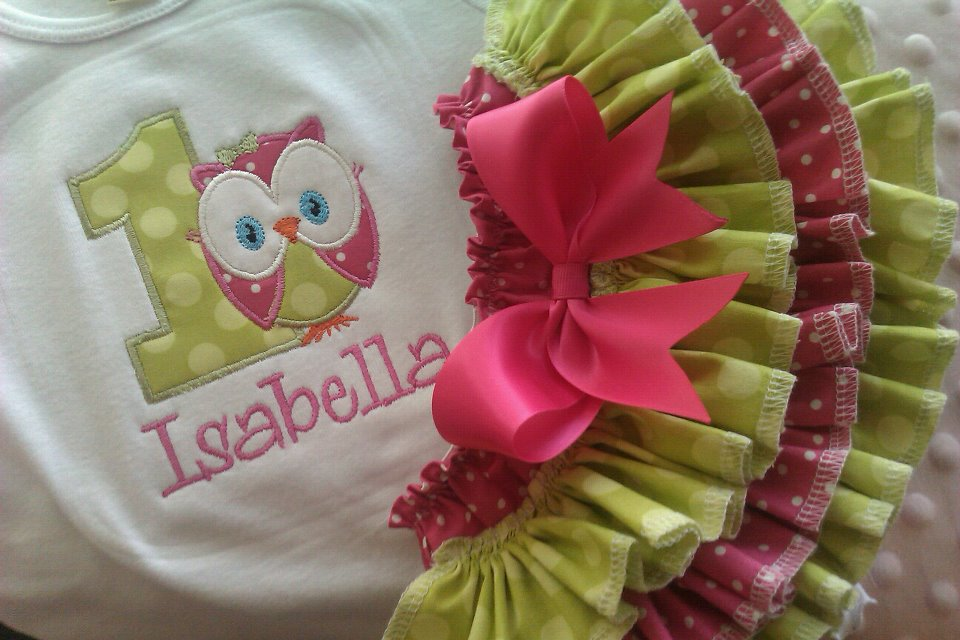 Birthday Owl Ruffled Set-