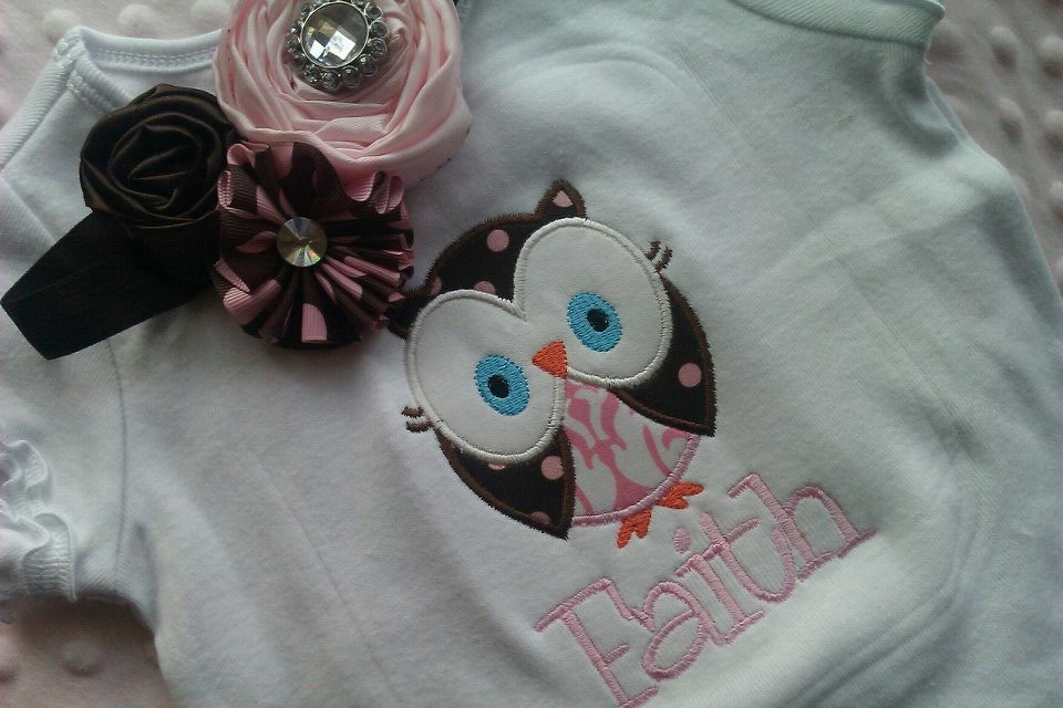 Pink and Brown Owl Tee and Matching Headband-